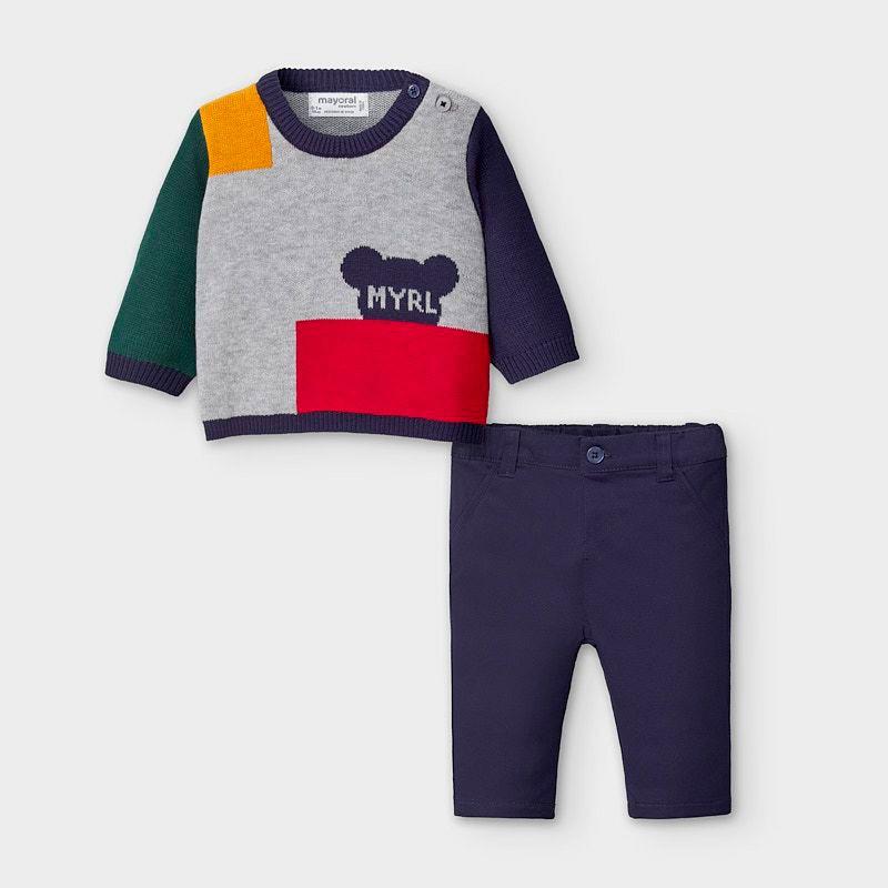 Комплект пуловер и панталон за новородено момче Mayoral