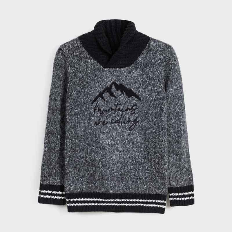 Пуловер с обгръщаща яка за...