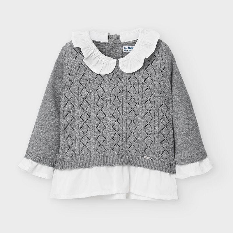 Официален пуловер с дълъг ръкав за бебе момиче Mayoral