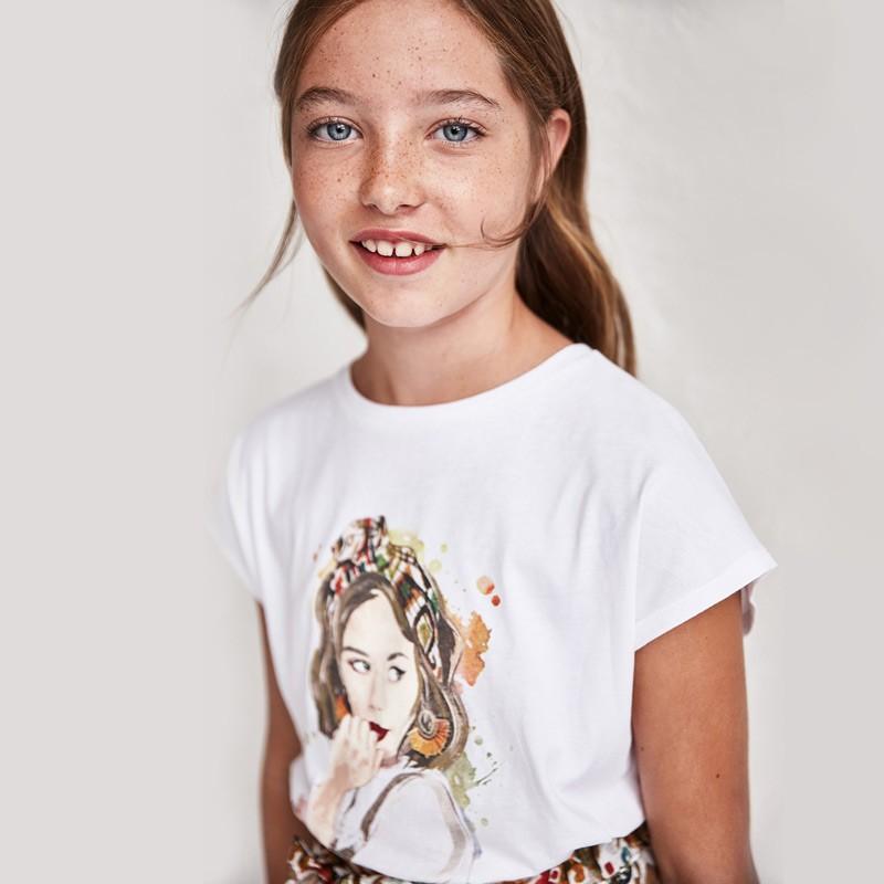 Къса тениска с възел на гърба за момиче Mayoral