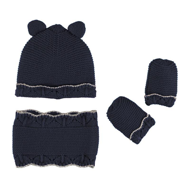 Комплект шапка, шалче и ръкавички за бебе момиче Mayoral