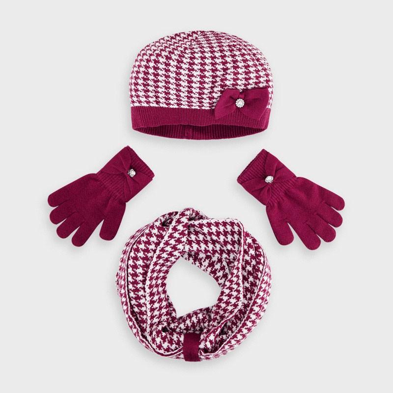 Комплект шапка и шал с пепитен десен за момиче Mayoral