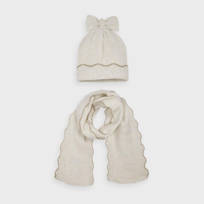 Комплект метализирани шапка и шал за момиче Mayoral