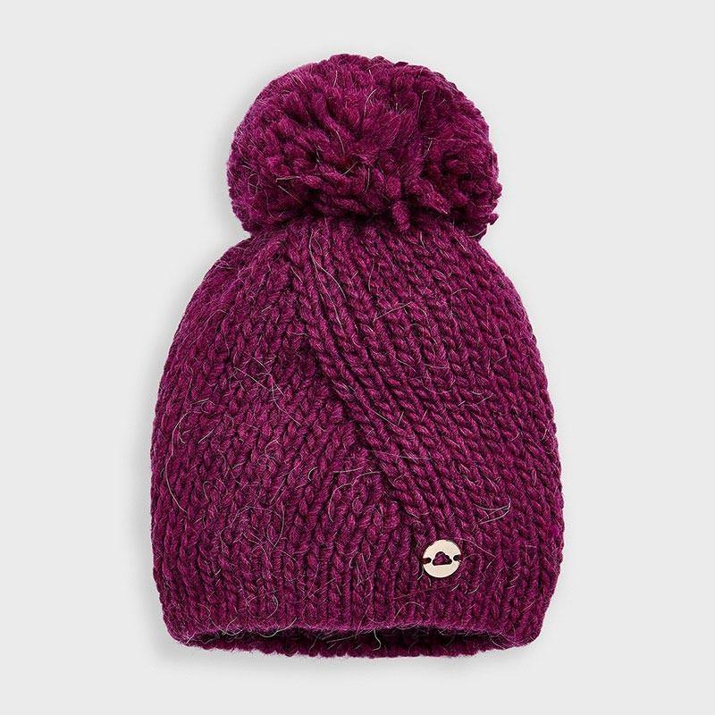 Плетена шапка с помпон за момиче Mayoral