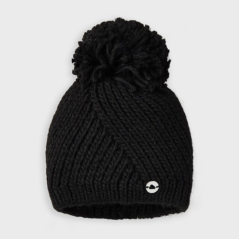 Плетена шапка с помпон за...