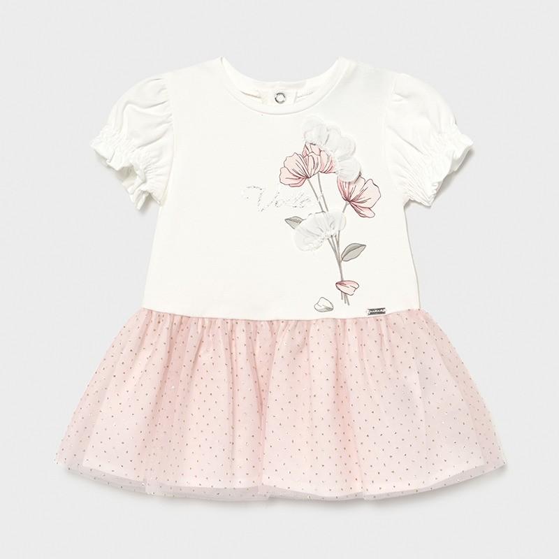 Комбинирана рокля с тюл за бебе момиче Mayoral