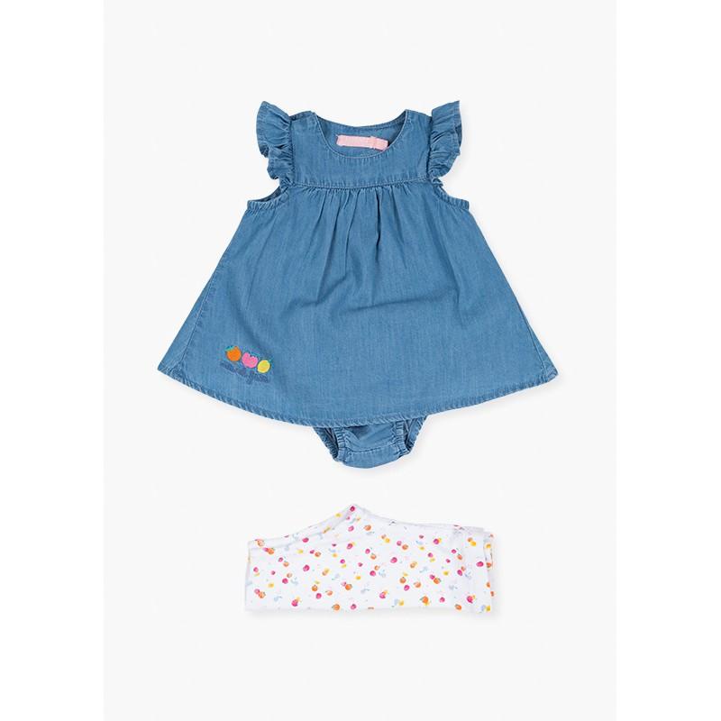Дънкова рокля с гащички и клин за бебе момиче Losan