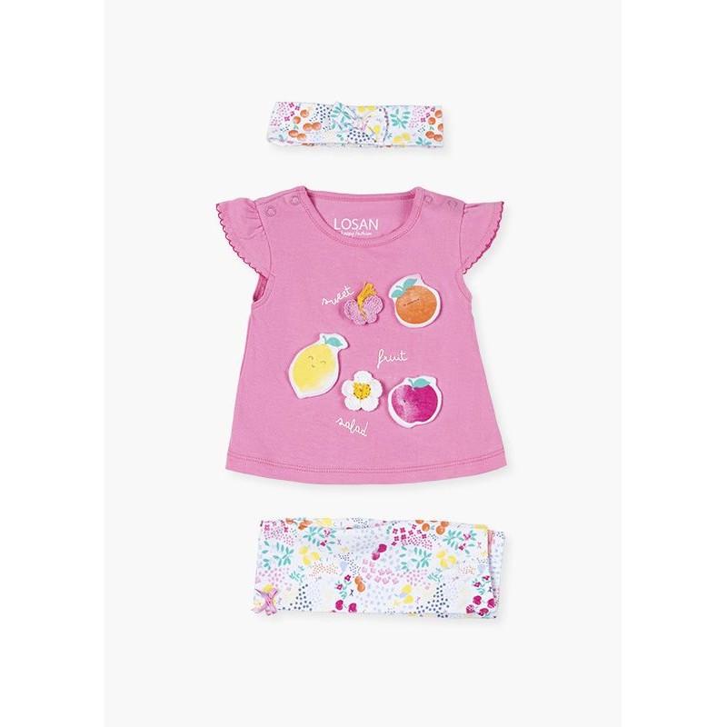 Комплект тениска с клин за бебе момиче Losan