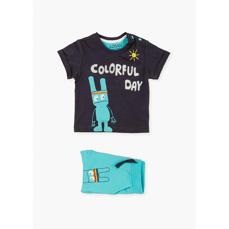 Комплект тениска и къси панталони за бебе момче Losan
