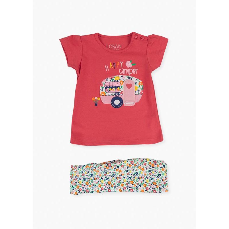 Комплект тениска с клин за момиче Losan