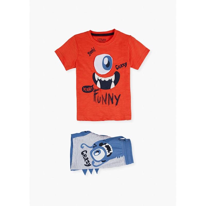 Комплект тениска и къси панталони за момче Losan