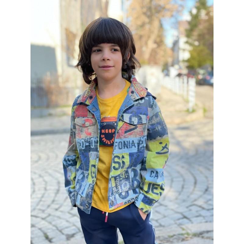 Двулицево дънково яке с качулка за момче Guess