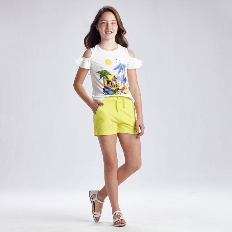 Комплект тениска и къси панталони за момиче Mayoral