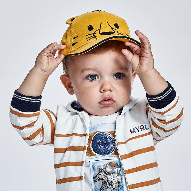 Шапка с козирка и декорация тигър за бебе момче Mayoral