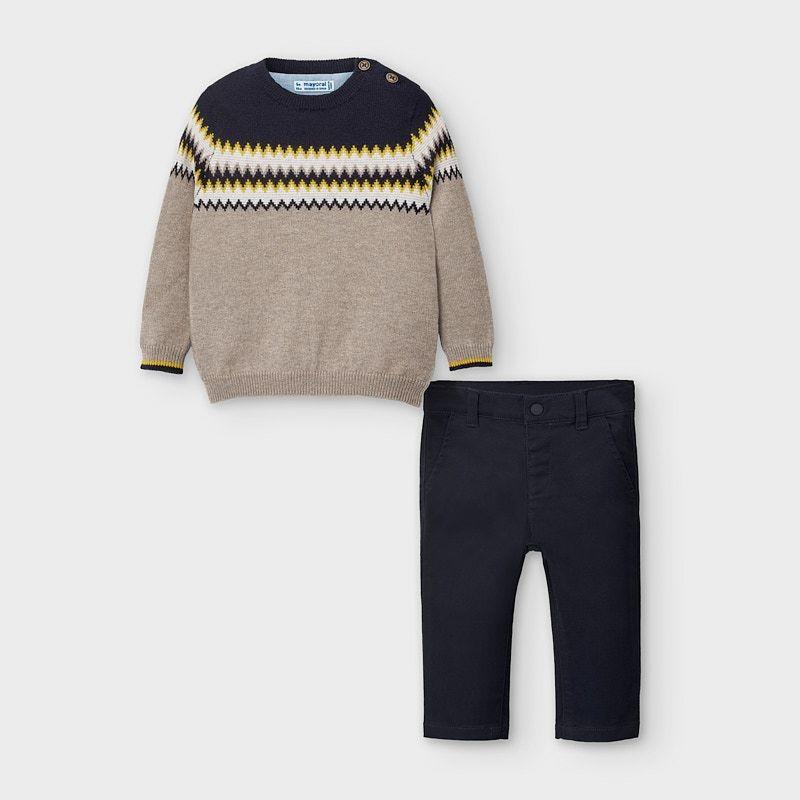 Комплект пуловер и панталон за бебе момче Mayoral