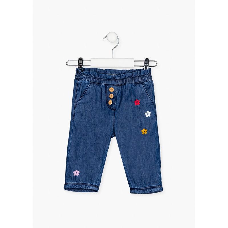 Дънков панталон за бебе момиче Losan 128-9001AL