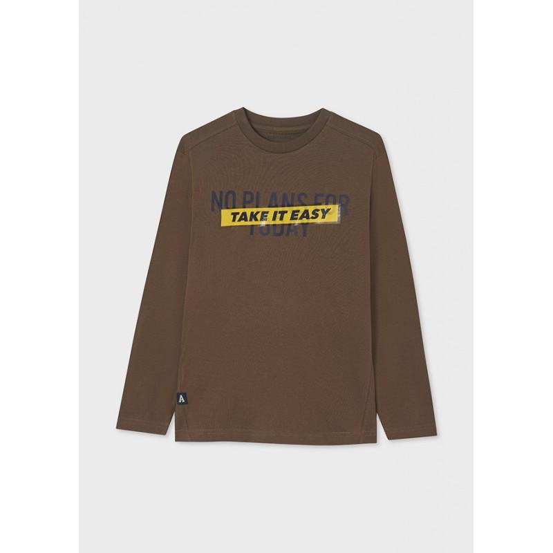 Блуза с дълъг ръкав и надпис с блясък за момче Mayoral 7009-094