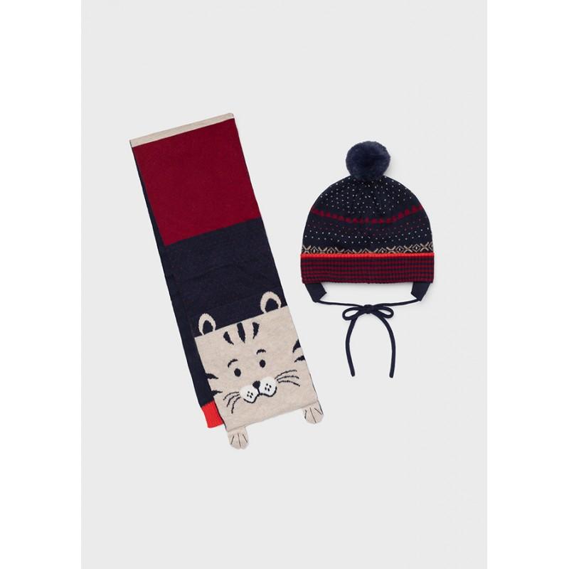 Комплект шапка и шал с коте за бебе момче Mayoral 10104-094
