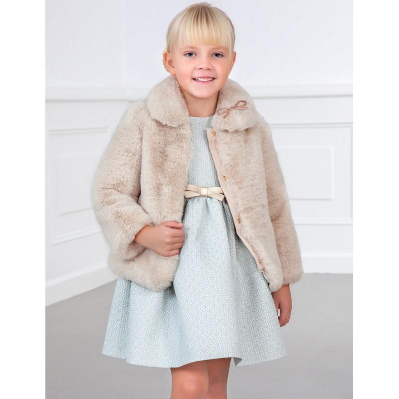 Елегантно палто с косъм за момиче Abel & Lula